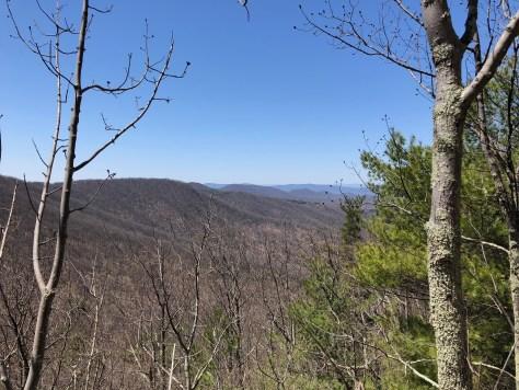 view of blue ridge mountains while hiking in shenandoah