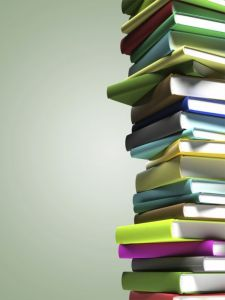 books in a colorful stack