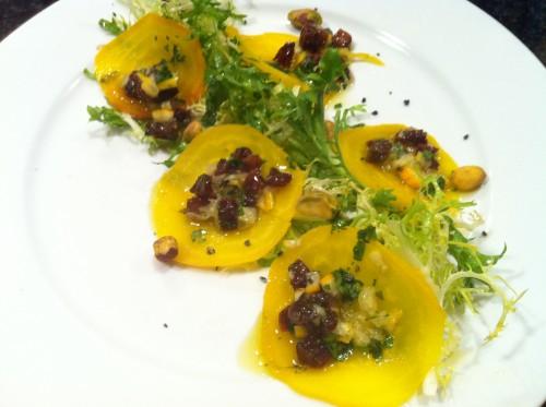 yellow beet & frisee salad
