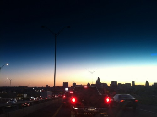Austin sunset skyline from I-35