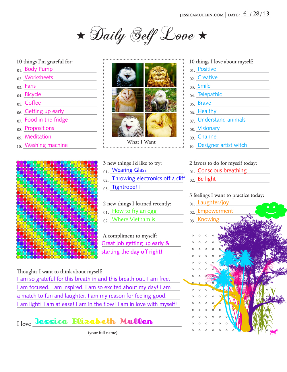 Daily Self Love worksheet for 6.28.2013 | Jessica Mullen
