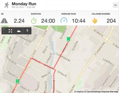 Running Activity 2.24 mi - RunKeeper