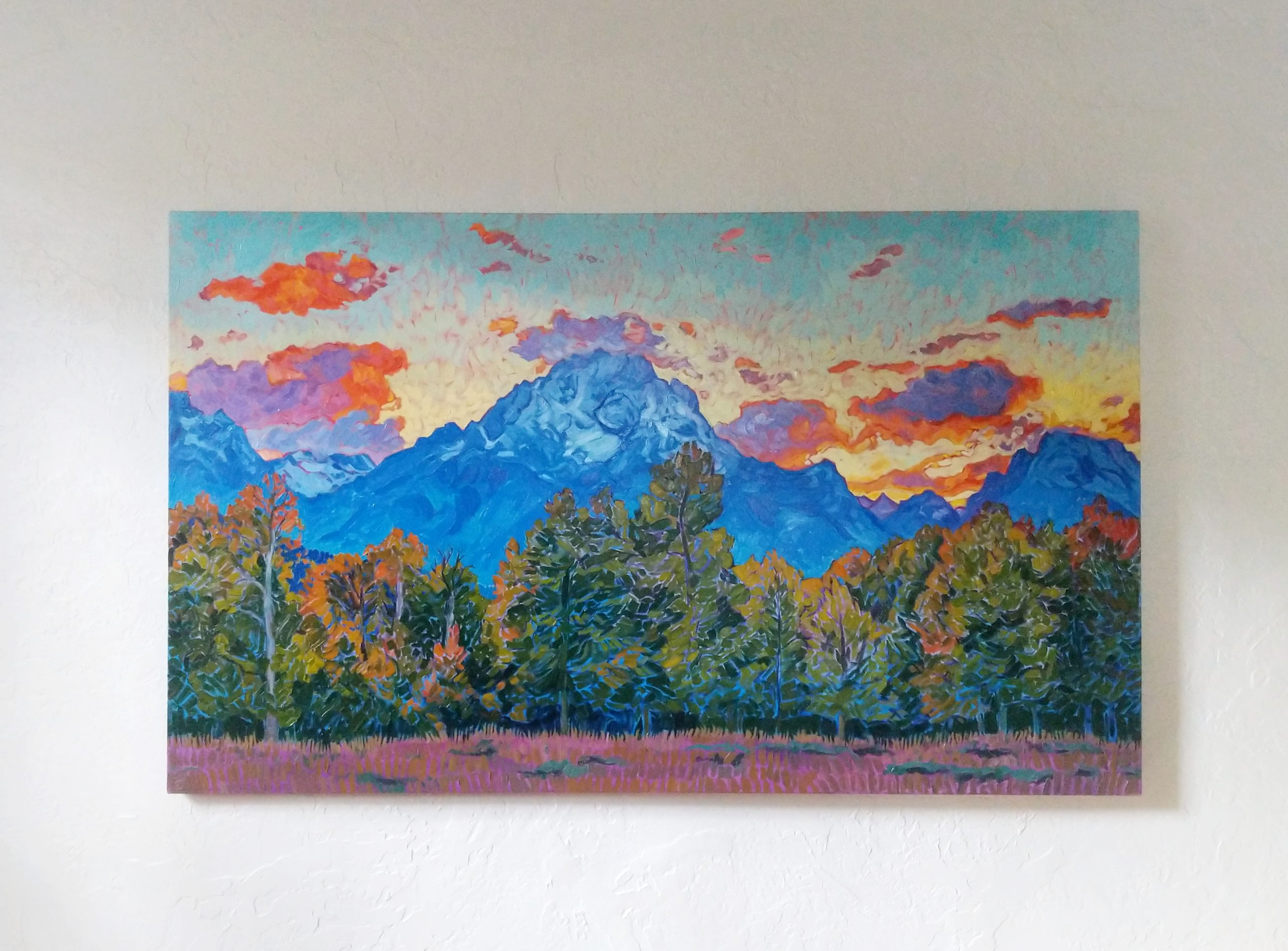 Fire Over the Tetons painting