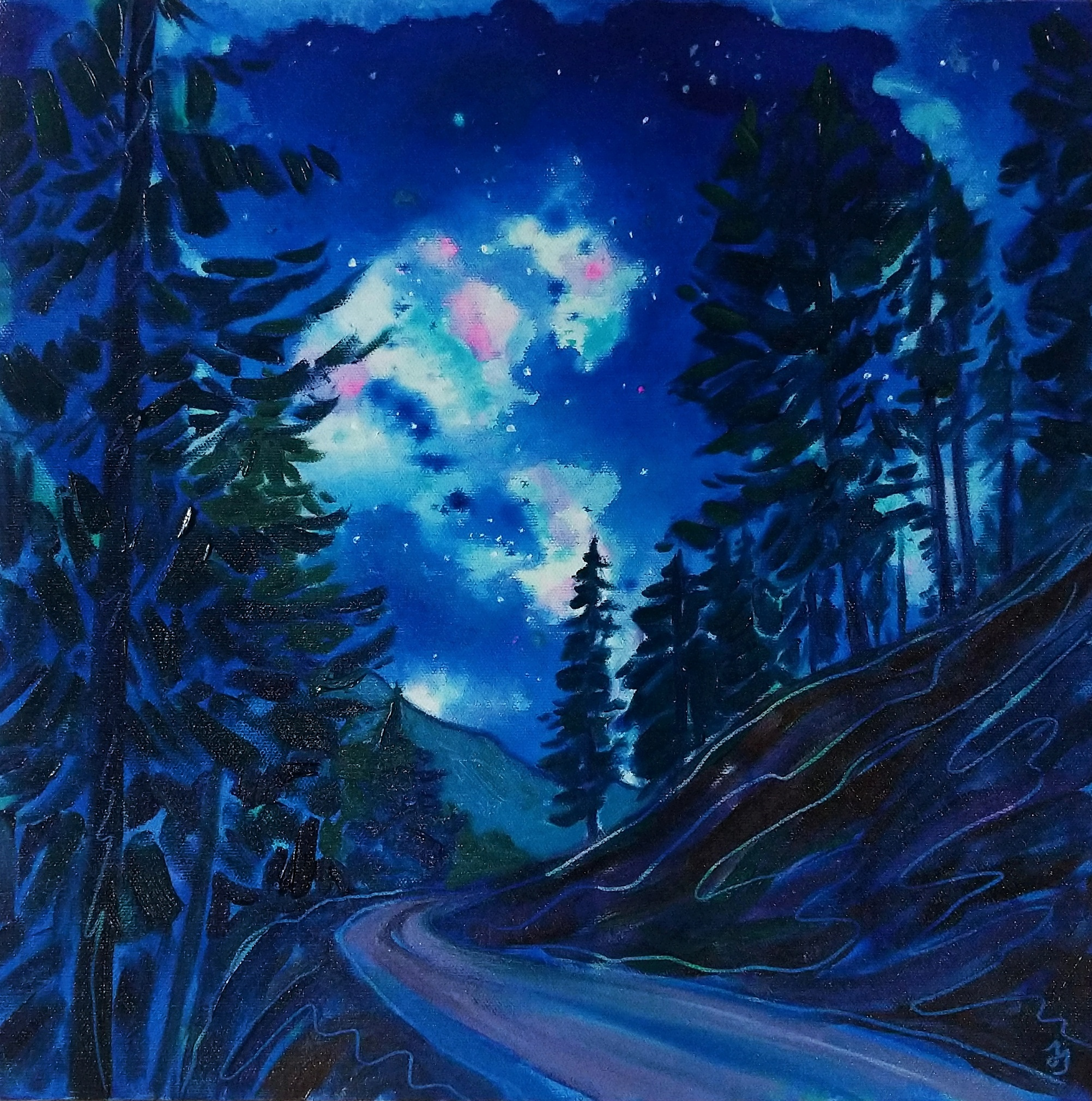 Starlit Road painting