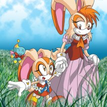 Cream the Rabbit (from Sonic the Hedgehog) with her mum. Very poor use of the Photoshop grass stamp, ha.