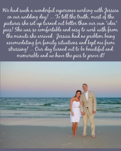 Marlin Wedding Testimonial_Sunset Beach Wedding_Short wedding dress_tan suit_no florals