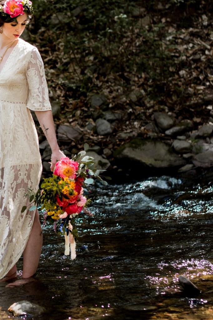 Jessica Patricia Photography Romantic Boho Elopement Bridal Portrait at Ricketts Glen