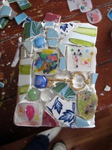 shrinky dink mosaic birdfeeder, class project