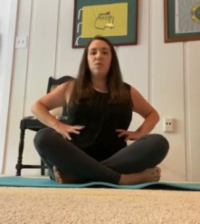 Diaphragmatic breathing with hands placed at ribcage