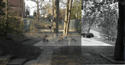 Mashup photo of Then: Framar Pool, Now: Basketball Court