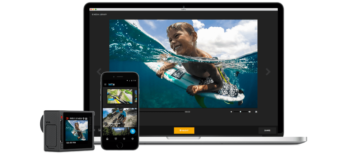 Screenshots of the GoPro mobile app, Quik for desktop software, and HERO5 camera.