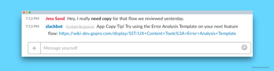 """Screenshot of a SlackBot response. A user has posted a message using the keywords """"copy ticket,"""" and the SlackBot has posted a relevant response that includes a link to a helpful document."""