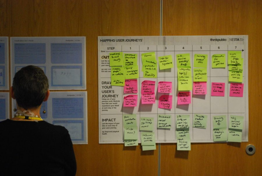A woman with her back to the camera stands facing large poster mounted on a wall featuring lost of post-its during a journey mapping session.