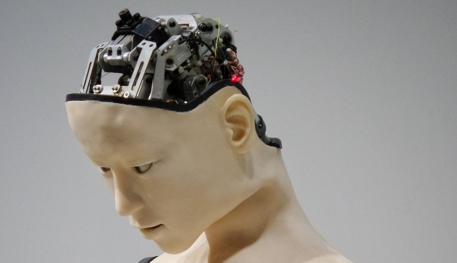 A robot skinned to look like a woman reveals its mechanical entrails where her skull should be.