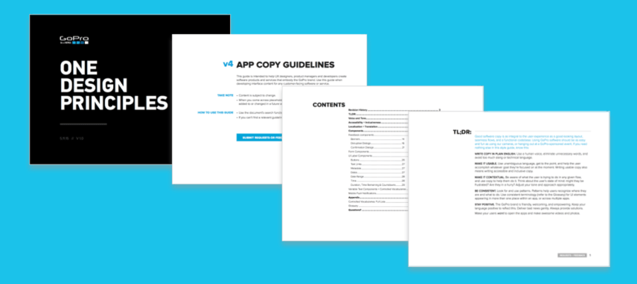 Screenshot of several pages of the GoPro App Copy Guidelines, inclusing Design Principles, Table of Contents, and a TL;DR:.