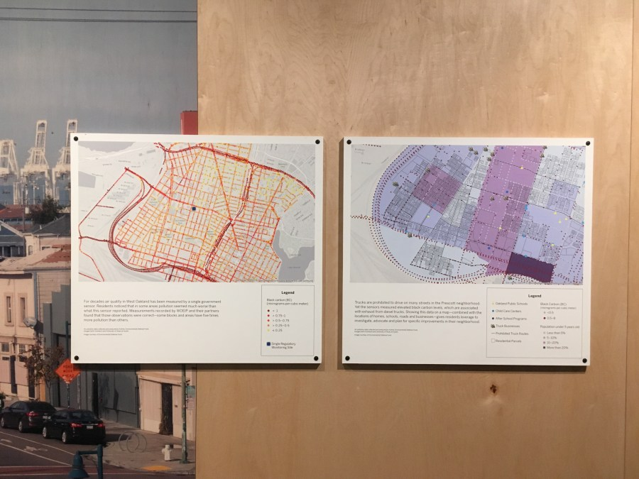 On the left is a West Oakland map depicting a layer of yellow, orange, and red dots overlaid across the neighborhood, indicating areas where air quality is worse. On the right is a similar map with a layer of blue and purple sections indicating black carbon levels and the population density of young children living in the area.