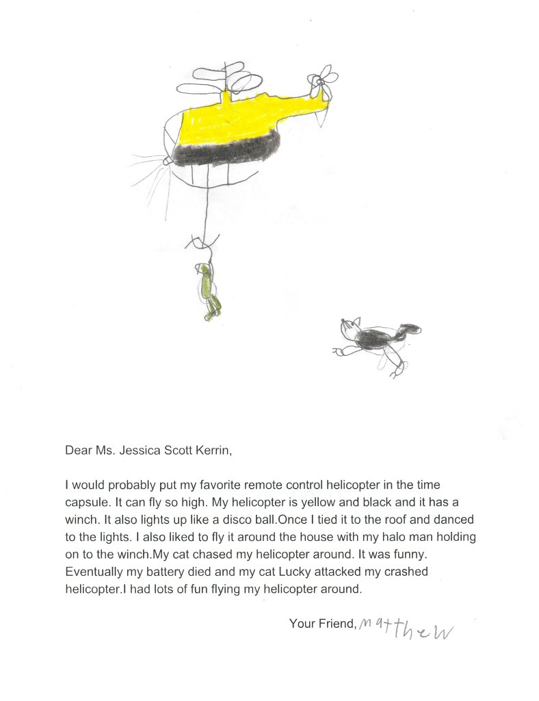 Children's drawing of a yellow helicopter