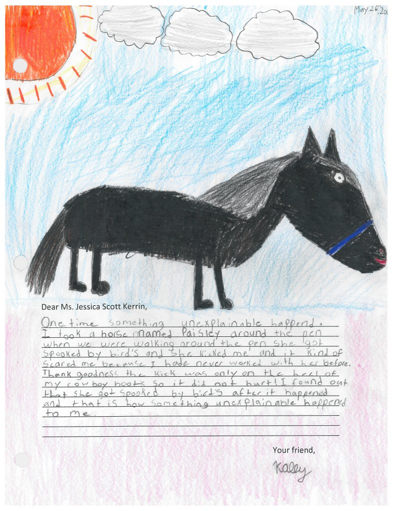 Child's drawing of a black horse
