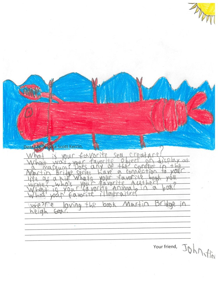Child's drawing of a lobster