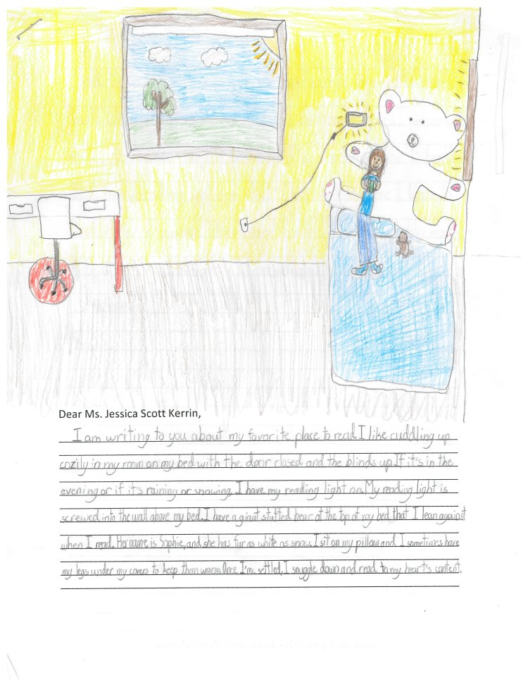 Child's drawing of room with giant white bear