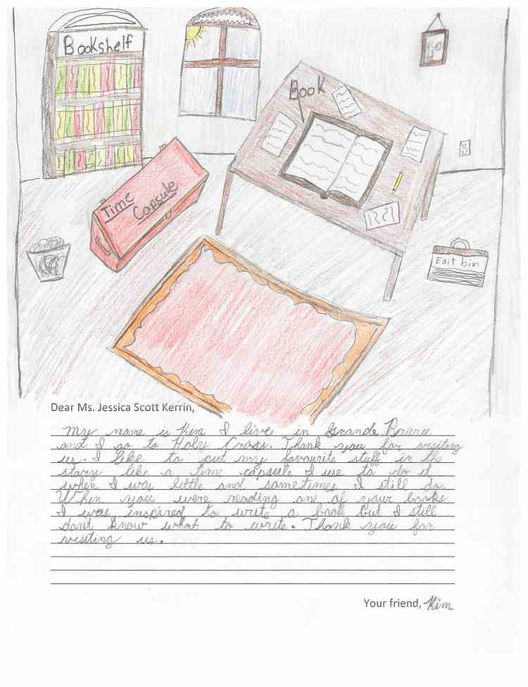 Child's drawing of a room with a desk and bookshelves