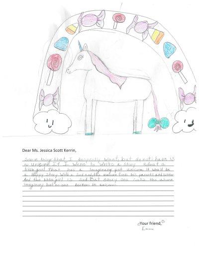 Child's drawing of a unicorn