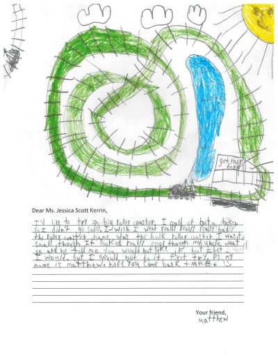 Child's drawing of a roller coaster
