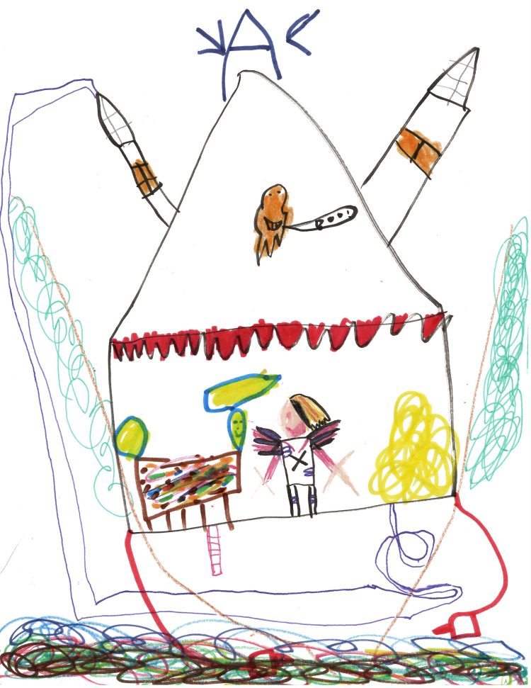 Child's drawing of a treehouse shaped like a spaceship