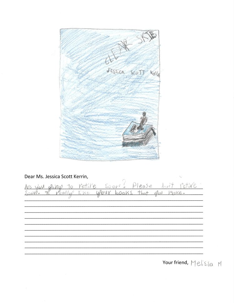 Child's drawing of cover of Jessica Scott Kerrin's novel called Clear Skies