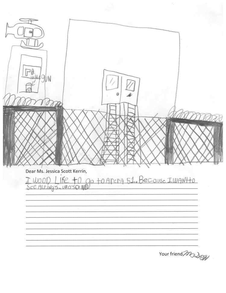 Child's drawing of a prison yard with a helicopter overhead.