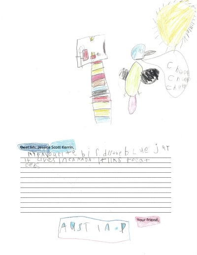 Child's drawing of a treehouse and a blue jay