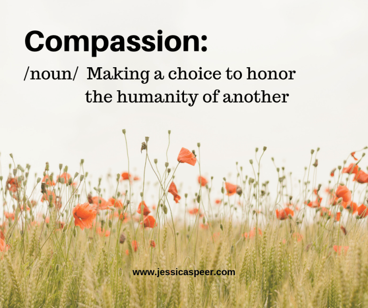 Text with the definition of Compassion - Making a choice to honor the humanity of another