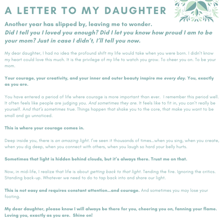 Text of letter from mom to daughter about confidence and courage