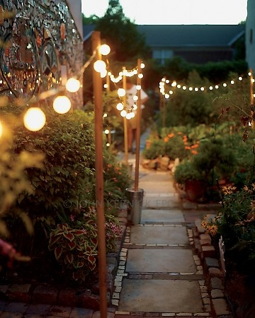 backyard path lit by string lights suspended from poles