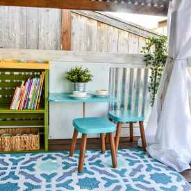 image of playhouse makeover with mini table and stools