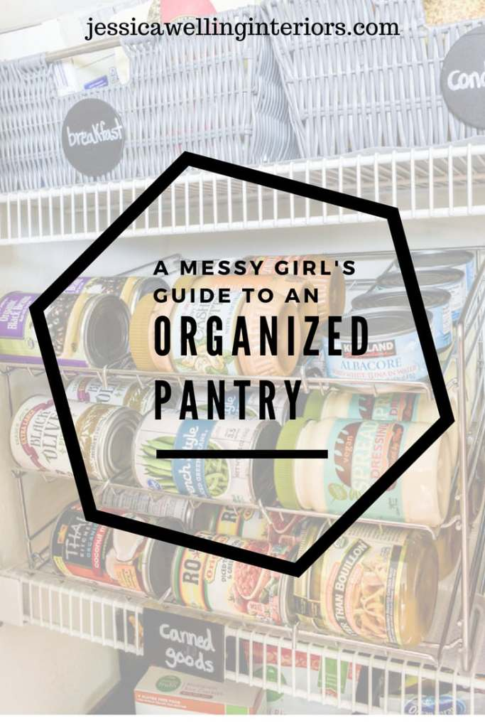 photo of organized pantry with text