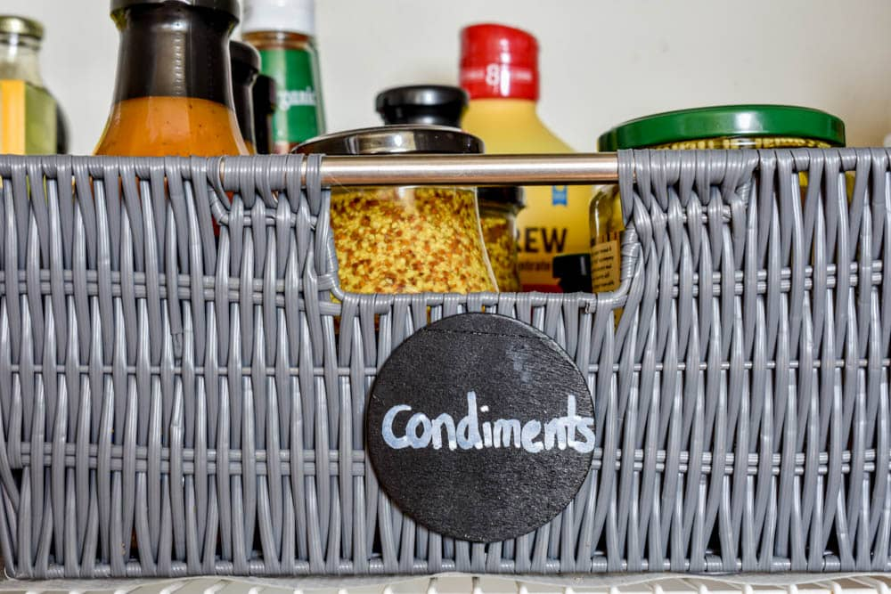 photo of pantry basket with chalkboard label