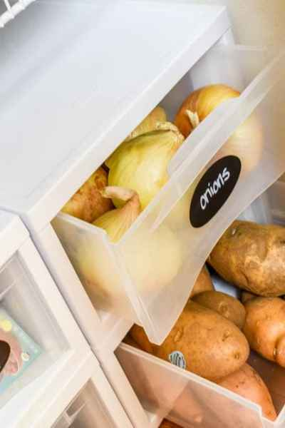 photo of modular plastic drawers with onions and potatoes