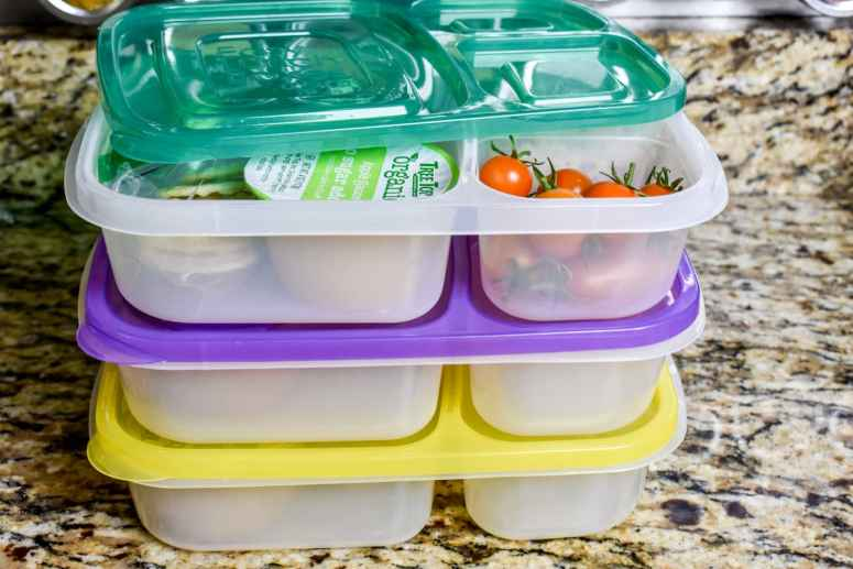 photo of school lunches in lunch prep station