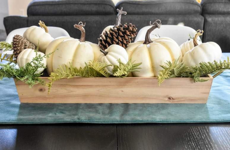 photo of white pumpkin centerpiece Fall decor