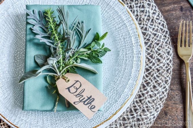 Simple Place Card Holders With Fresh Herbs