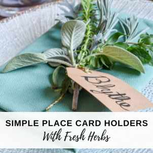 image of fresh herb bundle place card holders on Thanksgiving table