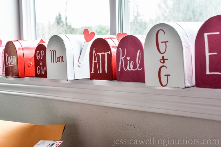 image of Valentine's Day mailboxes in play post office