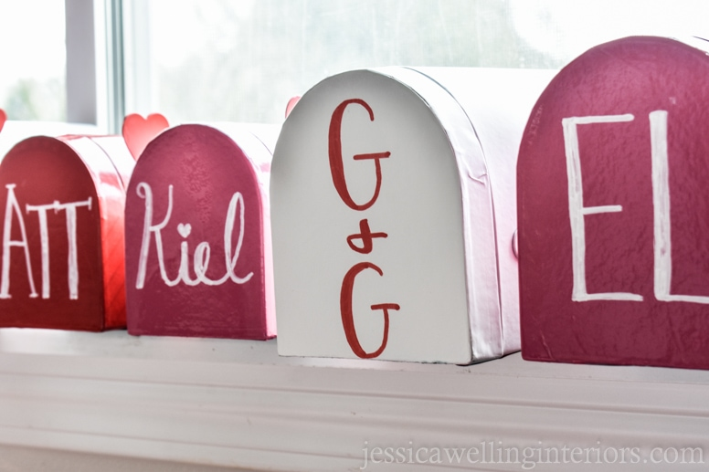 image of valentine mailboxes lines up on windowsill