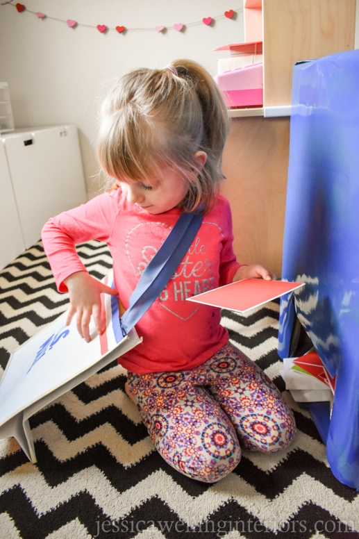 image of child playing in play post office for Valentine's Day