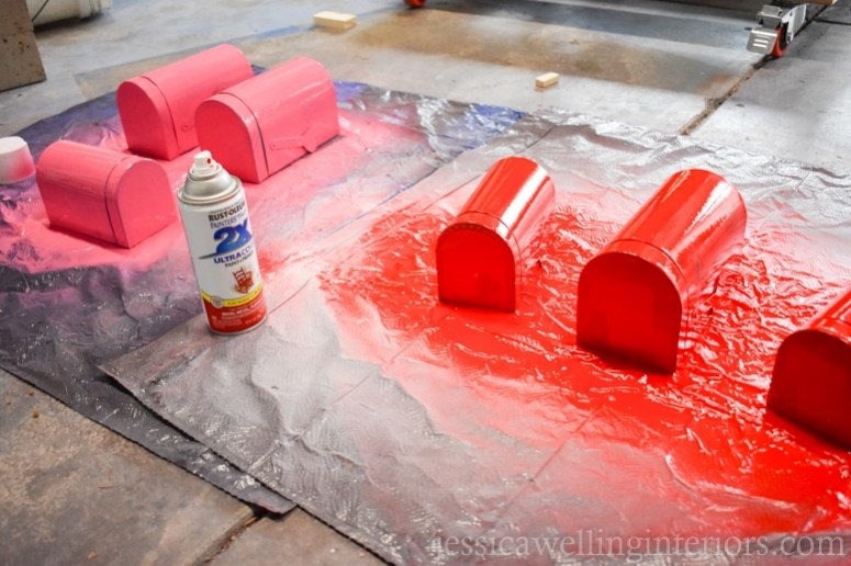 image of spray painted valentine mailboxes