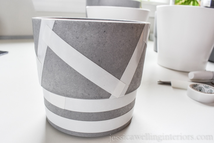 image of plastic plant pot with tape pattern
