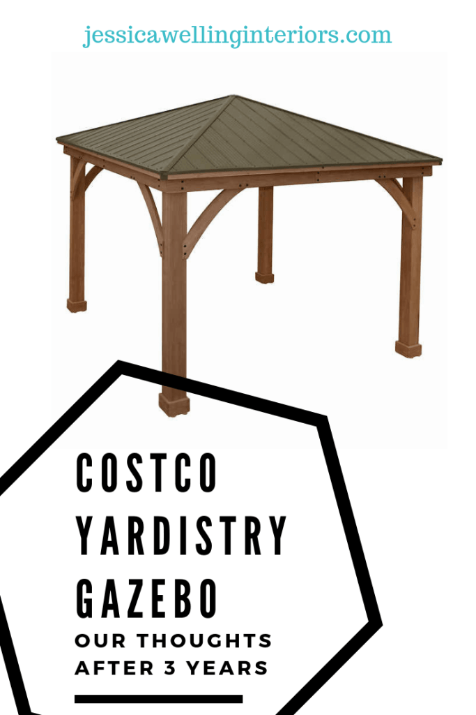 Considering a backyard gazebo or pergola? We bought and installed a Yardistry Gazebo from Costco three years ago. Read about our experience before you buy!