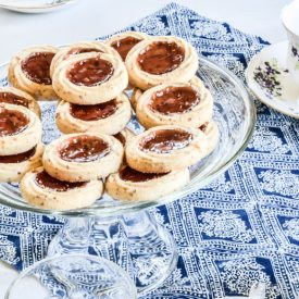 image of tea party table with thumbprint cookies