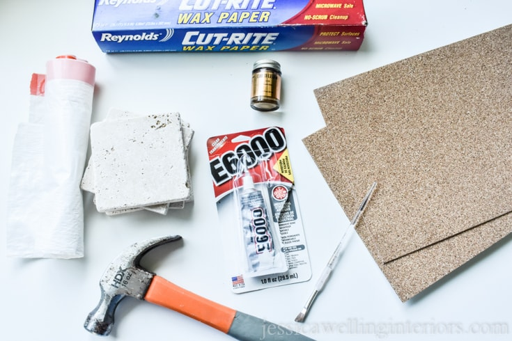 image of supplies needed to make diy kintsugi coasters from tiles and gold leaf paint
